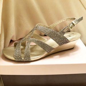 Women's Bandolino Gold Wedge Dress Sandal New